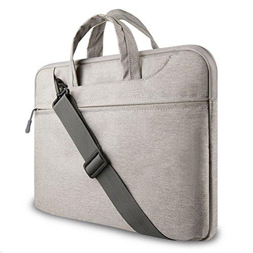 """GADIEMENSS Water-resistant Laptop Shoulder Briefcase Bag Portable Computer case handbag 15.6"""" Gray"""