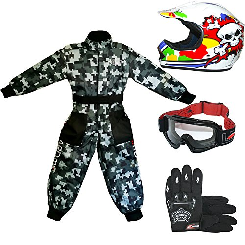 Tuta da Motocross per Bambini Leopard LEO-X19 Casco da Motocross per Bambini off-Road Occhiali Guanti