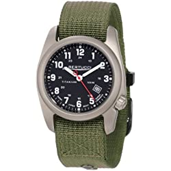 Bertucci A-2T Balck Dial Titanium Watch with Olive Nylon Strap 12122