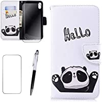 iPhone 7/8 Plus Hülle MISSDU Wallet Case Cover HandyHülle + Free Screen Protector, Touch Pen - Hallo Panda