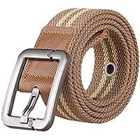 XIANGYINGZHIJIA Cinturón Cinturón Cinturón Cinturón de Lona Cinturón Casual Cinturón Cinturón de Hebilla, 100 cm, Franja Color Caqui Profundo