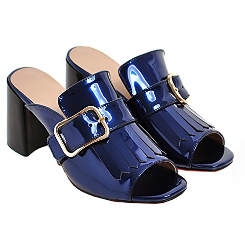 Le Scarpe Peep Toe Sandali Casuali A Della Materiali Donne Hanno Enmayer Blu Tacco Nappa Cono SqwxB4SHr1