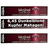 3x Loreal Majirel 6,45 Dunkelblond Kupfer Mahagoni Creme Haarfarbe - 50ml