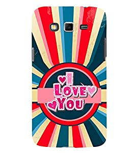 Fiobs Designer Back Case Cover for Samsung Galaxy Grand Neo I9060 :: Samsung Galaxy Grand Lite (I Love You Quote Red Blue)
