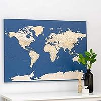 Trip Map Planisfero da Parete – Mappa del mondo - Quadro su tela incorniciato con 100 puntine incluse – Cartina geografica mondo in Blu Scuro - 2 dimensioni – Idee per regali originali