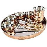 Skavij 10-teiliges Edelstahl Kupfer Geschirrset braun gold große Teller Thali mit Zuhaltung Schalen Löffel Gabel Abendessen Messer gehämmert Design Geschirrset Service für 1