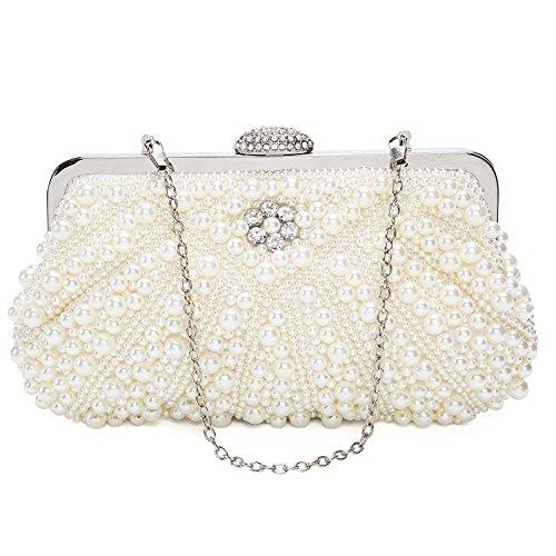Damen Clutch Abendtasche Handtasche Handmade Clutch Kleine Perlen Diamant Ring Schnalle Brauttasche Hochzeittasche (Kleine Strass-schnallen)