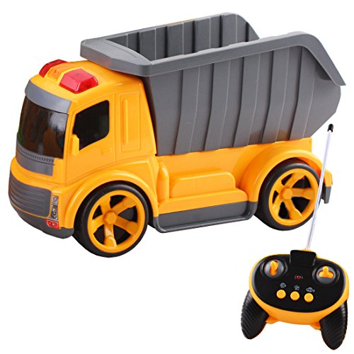 deAO RC Trucks Series Construction Truck Radio Control Vehicle Works with Lights and Sounds Beginner Level (Tipper Truck)