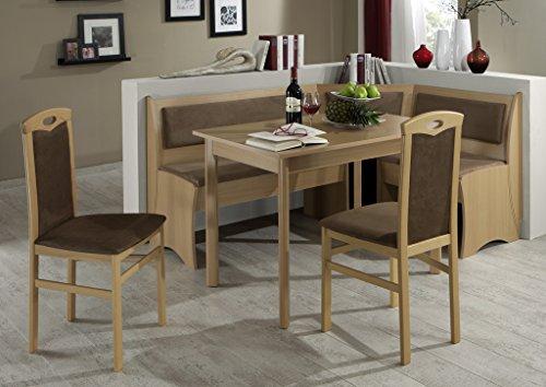 HOWE-Deko Truhen-Eckbankgruppe, Buche Natur Dekor bzw. Buche massiv; Eckbank, 2 Stühle und Vierfußtisch, Bezug: braun, variabel aufbaubar -
