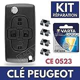 Coque/Boitier de Clé Plip Télécommande PEUGEOT 1007/807  4 interrupteurs Switch  Pile CR1620 VARTA