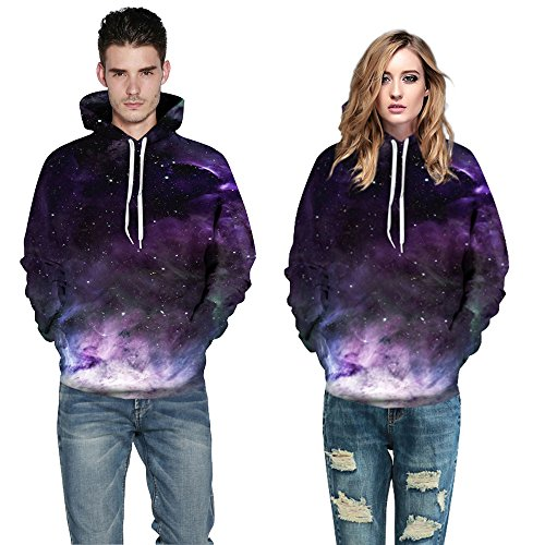 Herren Digitaldruck Kapuzenpullover Tops Fashion Hoodie Pullover Hooded Sweatshirt Galaxy Cloud