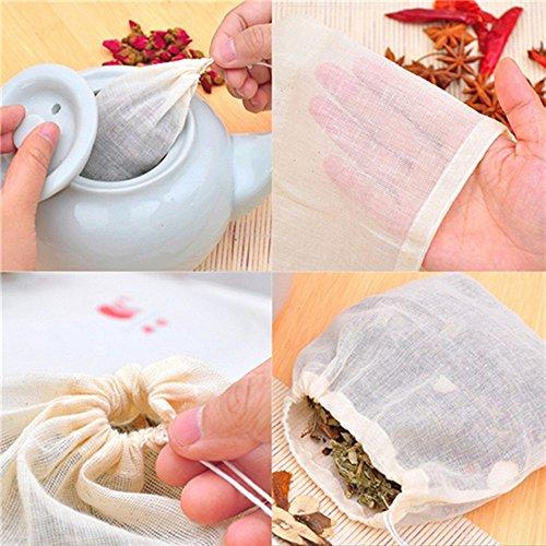 Outstanding® 10pcs 13x16cm Baumwoll-Gaze-Tee-Ei-Pfeffer-Gewürz-Siebe-Beutel Leere Tee-Beutel-Schnur-Hitze-Dichtungs-Filter-Papier für Kraut-lose Tee-Beutel
