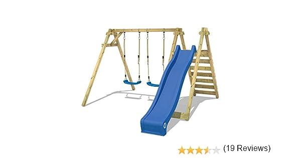 WICKEY Balan/çoire Smart Swift balan/çoire en bois pour enfants avec toboggan 2 si/èges de balan/çoire et podium 150cm