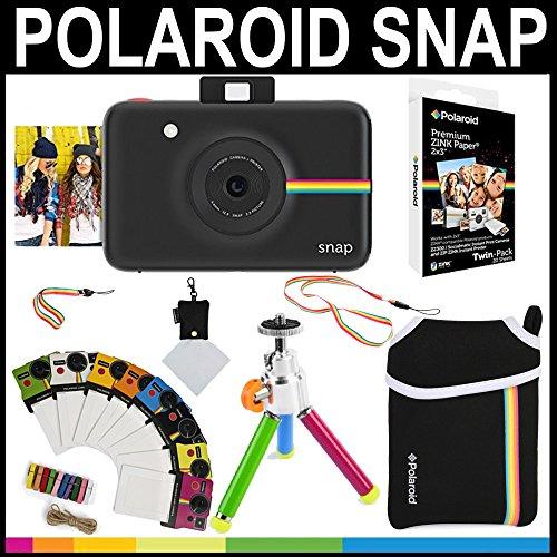 Polaroid Snap Sofortbildkamera (schwarz) + 2x3 Zink-Papier (20 Stück) + Neoprenbeutel + Bilderrahmen + Zubehör-Set