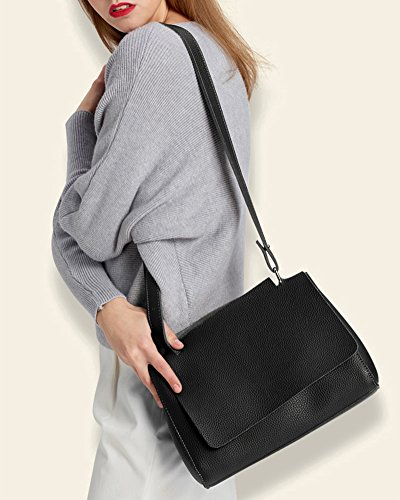 Donna PU Faux Leather Zipper Holder Clamshell Buckle shoulder bag Grigio Grigio Nero