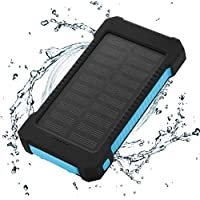 FLOUREON 10,000mAh Solar charger Power Bank Portable Phone Charger External Battery Charger with Dual 2.1A USB LED Flashlight Output Charging for iPhone 8/ 8 Plus/ X/ 7/ 6s, Samsung Galaxy S8/ S7/ S6 and More (Blue)