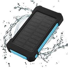 FLOUREON Solar Ladegerät 10000mAh Power Bank Akku Batterie Outdoor Wasserdicht mit Dual USB LED Taschenlampe für iPhone iPad Android-Handy Tablet Smartphones usw (Blau)