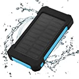 FLOUREON Solar Ladegerät Power Bank 10000mAh Akku Batterie Outdoor Wasserdicht mit Dual USB LED Taschenlampe für iPhone iPad Android-Handy Tablet Smartphones usw (Blau)