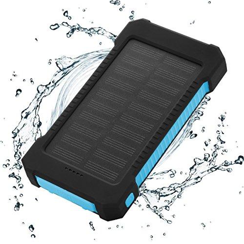 FLOUREON Solar Ladegerät Power Bank 10000mAh Akku Batterie Outdoor Wasserdicht mit Dual USB LED Taschenlampe für iPhone iPad Android-Handy Tablet Smartphones usw (Blau) (Ladegerät Solar)