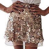 Minetom Donna Gonna da Cerimonia Elegante Dorato Lustrini Gonne Corti Sexy Moda Paillettes Abito da Sera Party Skirt Oro Small