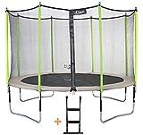 Kangui - Trampoline de jardin JUMPI ZEN + filet + échelle PVC - Beige et vert -  Ø250cm - 300cm - 360cm - 430cm
