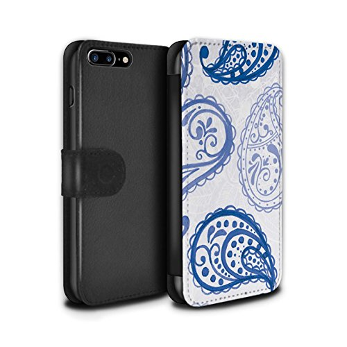 STUFF4 PU-Leder Hülle/Case/Tasche/Cover für Apple iPhone 8 Plus / Bokeh Glitzer Muster / Blau Mode Kollektion Bollywood