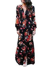 Vestiti Donna Primavera Autunnale Lunghi Fiori Stampa Moda Mare Vestito  Manica Lunga V Scollo Spacco Vita 1dd660cabfa