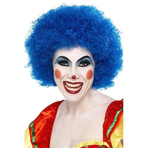 NET TOYS Clown Perücke Afroperücke blau Lockenkopf Afro Wig Clownperücke Harlekin Faschingsperücke