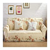 WUFANGFF Slipcover Blumenmuster Stretch Sofa Gestrickter Stoff Schonbezug Couch Covers Sofa Furniture Protector, 3Seat