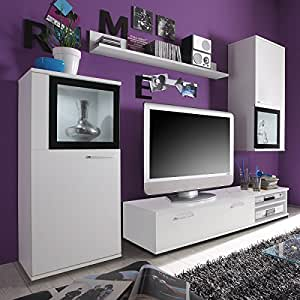 wohnwand live tv hifi wand 4tlg glas schrankwand. Black Bedroom Furniture Sets. Home Design Ideas