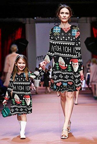 Ruiyige Frauen Mädchen Weihnachten Kleid Santa Weihnachten Geschenk Herz Print Swing Kleid Typ 1 Schwarz