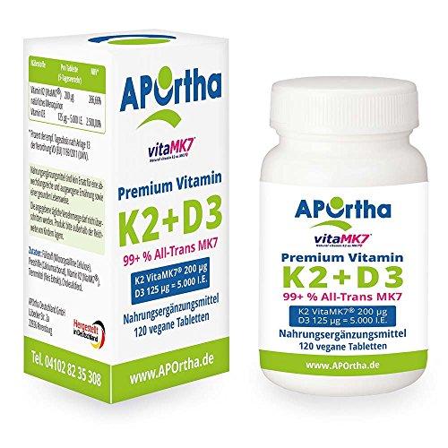 APOrtha Premium VitaMK7® K2 - MK7 Natto - 200 µg + Vitamin D3 125 µg / 5.000 i.E - 120 vegane Tabletten