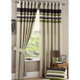 Just Contempo Stripe Eyelet Lined Green Curtains