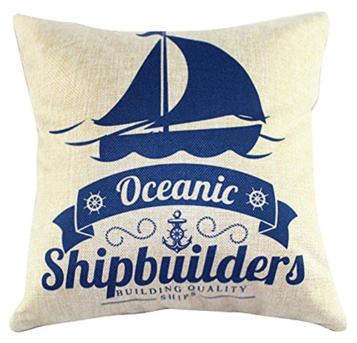 Proud Clothing Square Blue Sea Printed Stuffed Cushion Linen Stuffing Throw Pillow Insert for Decor Decorative Home Sofa Bedroom (Home Sea Decor)
