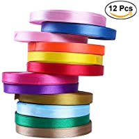 ULTNICE 25Yards Cinta de satén Cinta de regalo Cinta de envoltura arco para decoración Paquete de embalaje de regalo de 12