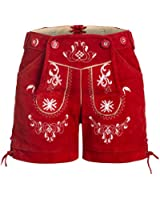 Damen Trachten Lederhose m. Trägern Rot Größe 32-46