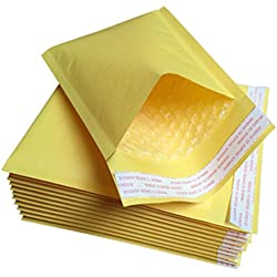 Ghair2 Enveloppes à Bulles dorées rembourrées en Papier Kraft avec Fermeture hermétique, Voir Image, 130 x 210mm,10pcs