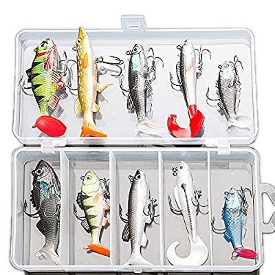 DONQL Soft Fishing Lures Kit, Fishing Lures Baits Tackle Set for Freshwater Trout Bass Salmon-Include Vivid Spinner Baits, Artificial Silicone Bass Baits With Box