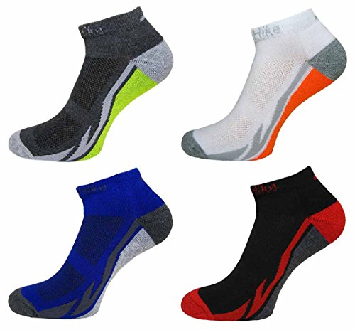 4 Pairs Mens Prohike Active Trainer Sports Socks, Blue Black White, Size 6-11