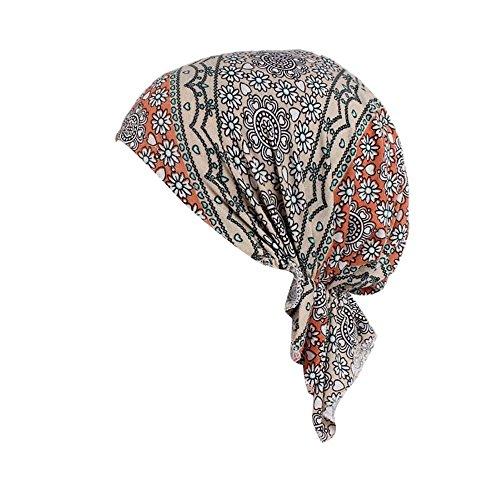 Rosennie Kopftuch Damen Elastischer Baumwollhut Frauen Moslemischer Turban Damen Mütze Muslim Kopftuch Drucken Chemo Kopfbedeckung Kopftuch Hut für Haarausfall Krebs,Chemotherapie -