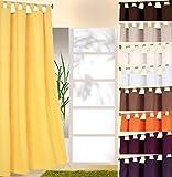 heimtexland ® Dekoschal mit Schlaufen und Kräuselband uni in gelb HxB 245x140 cm BLICKDICHT aber Lichtdurchlässig - Vorhang natürlich matt einfarbig mit wunderschön leichtem Fall - Schlaufenschal Bandschal ÖKOTEX Gardine Typ117