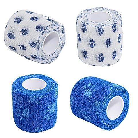 Bandage de Pet Paw Imprimé animal Bande de compression cohésif très 4,6m 5,1cm pour chien chat Cheval, 2pcs Bleu + 2pcs Blanc