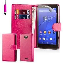 32nd® Funda Flip Carcasa de Piel Tipo Billetera para Sony Xperia E4 con Tapa y Cierre Magnético y Tarjetero - Rosa