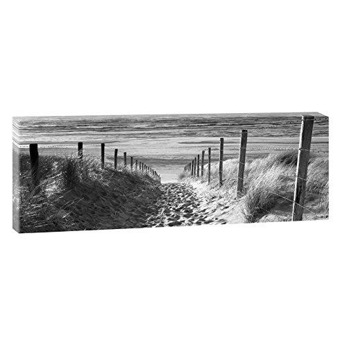 Querfarben Foto panoramica su tela, formato XXL, soggetto: sentiero verso spiaggia sul Mare del Nord, disponibile in diverse dimensioni e colori, Poliestere Stampa su tela, nero-bianco, 150 cm x 50 cm
