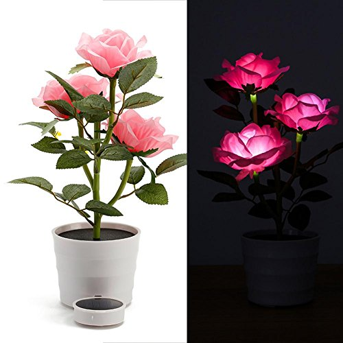DéCoration Solaire Led (Plusieurs Couleurs) En Pot De Fleurs Artificielles / Vert / CréAtif / ExtéRieur / Bureau / Jardin / Chambre / Place , pink