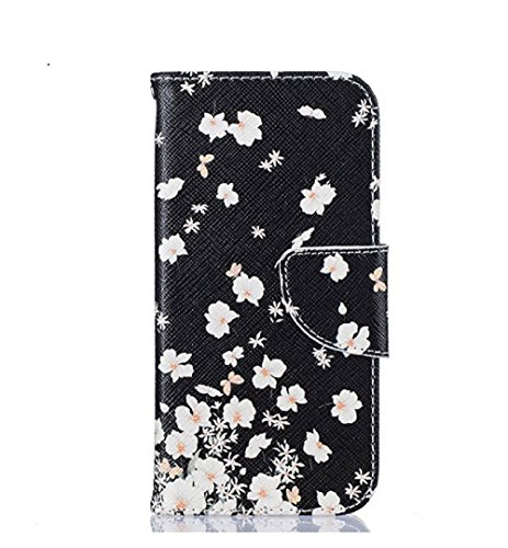Qissy® Wallet case Custodia a portafoglio per iPhone 5 5S SE Custodia flip cover in Design vortice floreale Feather Dreamcatcher (iPhone 5 5S SE, 7)