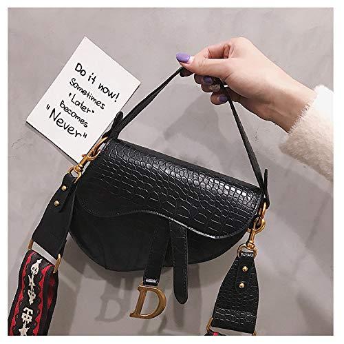 c145b52733ebdf Saddle Shoulder Bag for Women Fashion Small Top Handle Handbag Crossbody  Handbag Purse-Black Serpentine