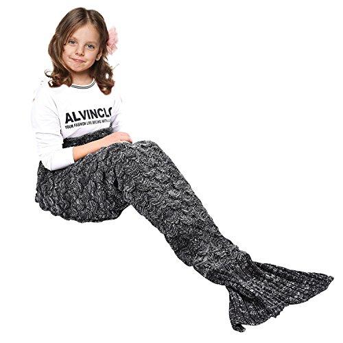 eCrazyBaby Wearable Meerjungfrau Schwanz Decke, Alle Jahreszeiten Warme Gestrickte Bettdecken Sofa Wohnzimmer Steppdecke Schlafsack für Kinder, Fischschuppen Muster, 140 x 70 cm, Schwarz