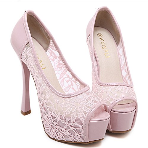 Rosa Sandalen Mode Schuhe Damen Toe On Slip Peep COOLCEPT Stiletto wzFBqCA