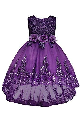 Babyonlinedress Mädchen Prinzessin Kleid Festlich Abendkleid Festkleid für Hochzeit Violett 140 CM